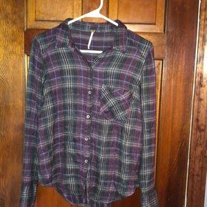 Free People purple plaid blouse.